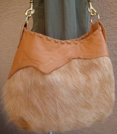 Camel Colored Leather Boho Bag With Hairon Cowhide by LindaLeeReid, $135.00