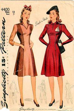1940s Simplicity 4400 Vintage Sewing Pattern Juniors Princess