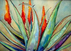 Aloe Limited Edition Giclee Print of an Original Watercolor Painting. Oil Pastel Paintings, Oil Pastel Art, Original Paintings, Flower Paintings, Watercolor Flowers, Watercolor Paintings, Encaustic Art, Art For Art Sake, Painting Inspiration