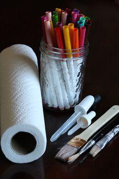 paper towel art - happy hooligans - colour bleeding - markers & water