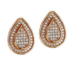 Dizeo 18 Karat Rose Gold over Sterling Silver with Simulated White Diamond Pear Shape Stud Earrings #rosegold #gold #diamonds #diamondearrings #earrings #jewelry