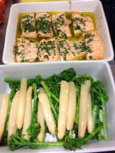 Mediterranean salmon, white asparagus , broccoli and sweet potato