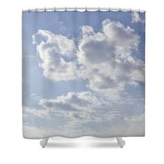 """Sunburst Sky Shower Curtain for sale by Inspired Arts.  This shower curtain is made from 100% polyester fabric and includes 12 holes at the top of the curtain for simple hanging.  The total dimensions of the shower curtain are 71"""" wide x 74"""" tall."""