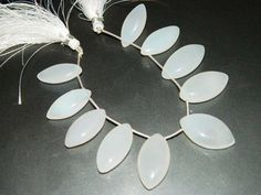 AAA Snow White chalcedony Smooth cut plain Marquise shape-Wholesale Price-Chalcedony Beads-Large size-Free shipping | ge