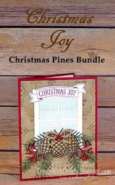 Complete instructions included in the post - Stampin' Up! Christmas Pines, Stitched with Cheer, and Star of Light handmade Christmas Card - Create With Christy - Christy Fulk, Independent SU! Demo