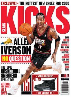 SLAM Presents KICKS 2: Philadelphia 76er Allen Iverson appeared on the cover of the second issue of KICKS Magazine (1999).