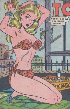 """Torchy Todd: She does burn our hearts - Art by Bill Ward - Board """"Art - Torchy Todd"""" -"""