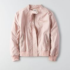 AE Bomber Jacket ($52) ❤ liked on Polyvore featuring outerwear, jackets, pink, bomber style jacket, american eagle outfitters, pink jacket, pink bomber jacket and snap jacket