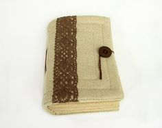 Ivory and Brown  handmade fabric journal diary by ArtsBooks,