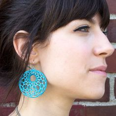 Cellular Earrings Turquoise by Nervous System