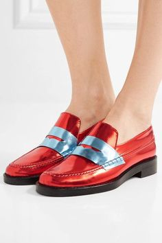 Heel measures approximately 30mm/ 1 inch Red and blue leather Slip onAs seen in The EDIT magazine