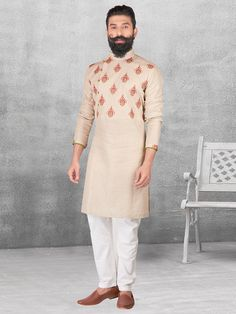 Silk cream color kurta suit for festive occasion - G3-MKS0547   G3fashion.com
