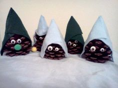 Pinecone Gnomes with felt hats, googly eyes