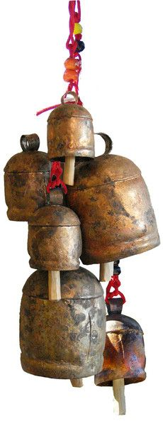 Copper Bells made in India. Got a large one hanging in my kitchen, we use it for a dinner bell. It is hand tuned and beautiful sounding.
