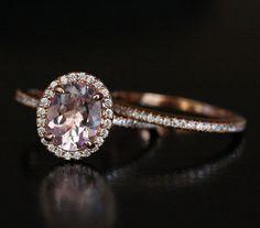 Pink Morganite Engagement Ring Bridal Ring Set in 14k Rose Gold with Morganite…