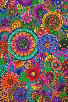 Floral Mandala Pattern Art and with Such Great Colors! Mandala Pattern, Pattern Art, Mandala Print, Paisley Pattern, Graffiti Kunst, Paisley Art, Wallpaper Backgrounds, Iphone Wallpaper, Screen Wallpaper