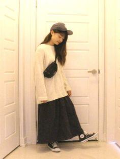 さやさんの「コーデュロイフレアースカート(SUPER HAKKA)」を使ったコーディネート