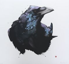 Interesting black raven with watercolor effect tattoo design