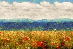 $37 Mike Savad - Some place on this earth exists a field of nearly endless poppies. Opium as far as the eye can see, delicate little pink and red flowers that just go on forever. #savad #landscape #impressionistic