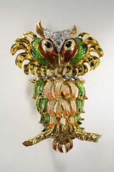 Vintage OWL Brooch Pin 18K Yellow GOLD Colorful ENAMEL & DIAMONDS Rare 1 of Kind | Jewelry & Watches, Vintage & Antique Jewelry, Fine | eBay!