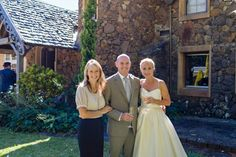 Celebrant Michelle Shannon with Paul and Marisa who were married at Deux Belettes - Alstonville. Photo by Bushturkey studio. Byron Bay Weddings, Bridesmaid Dresses, Wedding Dresses, Beautiful Couple, Wedding Ceremony, Studio, Couples, Celebrities, Fashion
