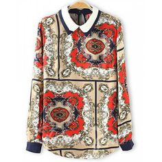 Vintage Flat Collar Colorful Printing Long Sleeves Chiffon Women's Blouse