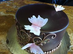 Chocolate and pink butterfly cake