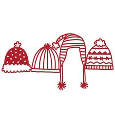 Silhouette Design Store - View Design #168964: warm winter hats border