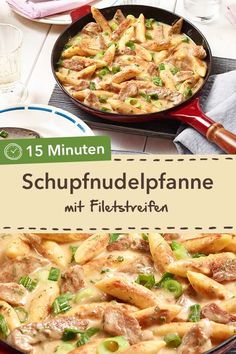 Quick and tasty: Schupfnudelpfanne with fillet strips in creamy cream sauce. - Quick and tasty: Schupfnudelpfanne with fillet strips in creamy cream sauce. Easy Snacks, Easy Healthy Recipes, Easy Dinner Recipes, Pasta Recipes, Healthy Snacks, Chicken Recipes, Easy Meals, Pan Rapido, Food Porn