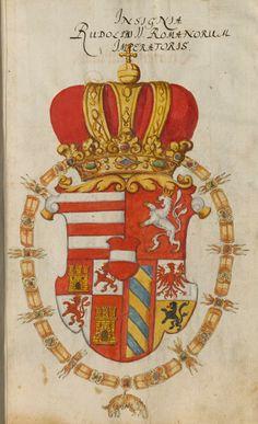 Coat of arms of Rudolf II, Holy Roman Emperor (1552-1612). Großes Wappenbuch, enthaltend die Wappen der deutschen Kaiser, der europäischen Königs- und Fürstenhäuser, der Päpste und Kardinäle, Süddeutschland 1583