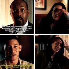 """""""I think you're a little late for the puberty talk, dad. I've seen the Internet"""" - Wally, Joe and Iris #TheFlash"""