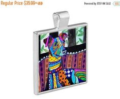 55% Off Today- Italian Greyhound Necklace Dog Folk Art Jewelry - Pendant Metal Gift Art Heather Galler Gift- Dog Lovers Abstract Modern V
