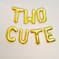 TWO Cute 2nd Birthday Photo Prop Two Gold Letter Balloons