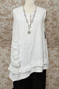 Sarah Santos White Linen Long Dress Tunic Very Quirky Lagenlook Oversize Top | eBay