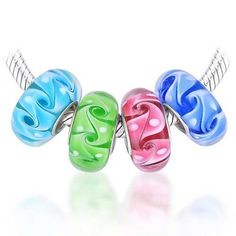 Bling Jewelry Sterling Silver 4 Swirl Murano Glass Bundle Sets Bead