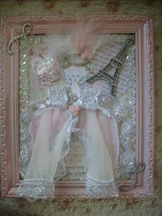 Pink,silver,holiday,shabby,cottage,french,paris,altered art,marie antoinette,framed wall art 2