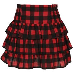 Tiered Buffalo Check Skirt (36 PLN) ❤ liked on Polyvore featuring skirts, bottoms, saias, faldas, buffalo plaid skirt, tiered skirt, forever 21 skirts, cotton skirts and forever 21