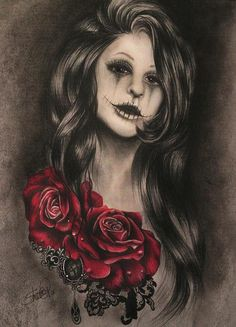 www.facebook.com/... By: Sheena Pike ~ ART ~ coloured pencil, PanPastels Art. sugar skull, rose, , rose tattoo, portrait, macambre, lace, Gem, gothic, girl portrait This piece can be purchased on my website...please visit! sheena-pike.artis... and thank you for the Pin...I appreciate the exposure. (copyright of SheenaPikeArt )