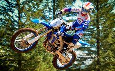 Herunterladen hintergrundbild yamaha yz450f im jahr 2018, bikes, motocross, reiter, springen, yamaha