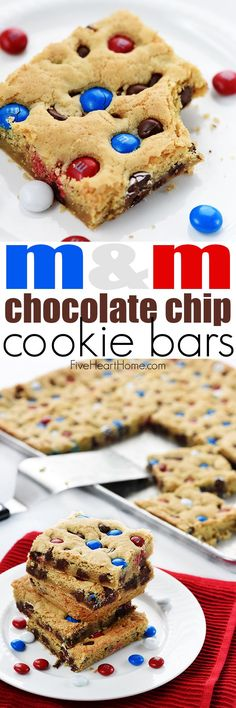 M&M Chocolate Chip Cookies Bars ~ these thick, chewy, big-batch treats are simple to make, fun to share, easy to customize with different colored M&Ms, and always a huge hit!   FiveHeartHome.com