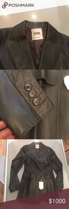 Leather jacket This is a brand New tailored leather jacket / leather blazer. remarkable stitching, remarkable lining brand-new with tags. It is a deep olive green almost black. Like I thought it was black and you can only really see if you look at it closely that it's green. It has tags and buttons it's in mint condition. Never worn. Moschino Jackets & Coats