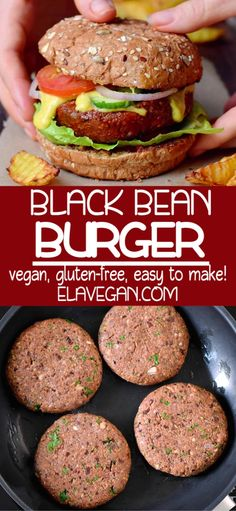Hearty vegan black bean burger with lots of flavors! These tasty veggie burgers are a healthier fast-food option that is Fast Healthy Meals, Easy Meals, Vegetarian Fast Food Options, Vegetarian Barbecue, Vegetarian Cooking, Vegan Bean Burger, Vegan Black Bean Burgers, Black Bean Veggie Burger, Vegan Dinners