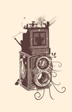 Vintage Camera Retro Rolleiflex - Evolution of Photography Buy as METAL PLATES! - See amazing artworks of Displate artists printed on metal. Easy mounting, no power tools needed. Vintage T-shirts, Vintage Art Prints, Vintage Posters, Wedding Vintage, Vintage Ideas, Vintage Stuff, Vintage Camera Tattoos, Tattoo Vintage, Camera Drawing