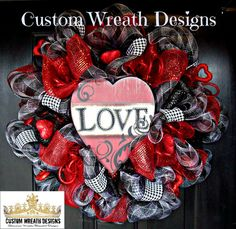 Black and Red Love Valentines Wreath by lilmaddydesigns on Etsy, $95.00