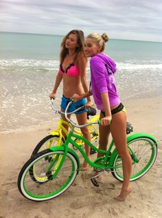Ride bikes on the beach in bikinis with my best friends