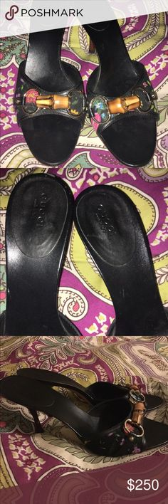 """Gucci, bamboo floral heel I've these 9.5 gently worn  black Gucci 2 1/2"""" open toe heel with bamboo front detail over Floral fabric and leather trim. Gucci Shoes Heels"""