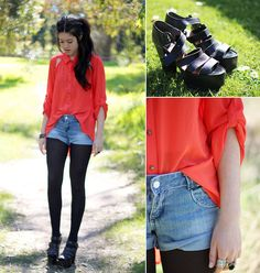 Tangerine (by Carmen Grace) Such a pretty top and strappy sandals are always fun.