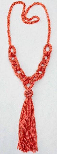 Mediterranean Coral Bead Sautoir Necklace image 4