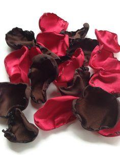 Red and Brown rose petals, Wedding decor, flower girl petals, bridal decor, bridal shower, baby shower, decor, centerpieces, party decor