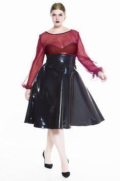 1b4e7a39779c9 JIBRI High Waist Black Patent Leather Swing Skirt Plus Size Skirts